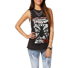 Promo-Charcoal Spiderman Tank Top (39 BRL) ❤ liked on Polyvore featuring tops, cut off top, long tank, cut off tank top, long tops and cut off tank