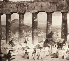 """hauntedbystorytelling: """" Philippos Margaritis :: The students of School Hill at the Acropolis, Athens, Albumen print. / src: luminous-lint more [+] by this photographer """" Photographs Of People, Vintage Photographs, Old Pictures, Old Photos, Classical Greece, Old Greek, Greek History, Ancient History, Old Portraits"""