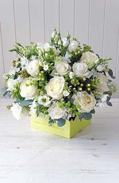 Beautiful Winter Flower Arrangement With Cedar Holly White Roses