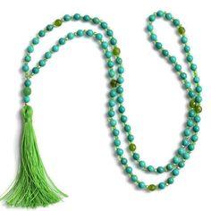 Turquoise & Peridot Tassel Necklace