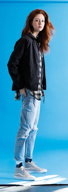 Model and style muse, Natalie Westling, looking effortlessly cool in Vans Perf Suede Sk8-Hi's, boyfriend jeans, and the perfect plaid flannel. Check out new prints and colors on the Vans Sk8-Hi, and more fall wardrobe essentials at vans.com.