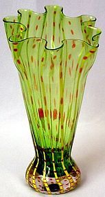 Unusual Czech Hand Blown Vase This vase was produced in Czechoslovakia in the My Glass, Blown Glass, Glass Art, Antique Vases, Vintage Vases, Types Of Glassware, Cranberry Glass, Glass Jewelry, Green And Brown