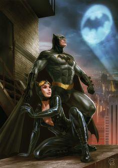 Batman & Catwoman by Ruslan Svobodin Catwoman Y Batman, Im Batman, Batman Arkham, Batgirl, Batman Gif, Batman Stuff, Batman Artwork, Batman Wallpaper, Gotham City
