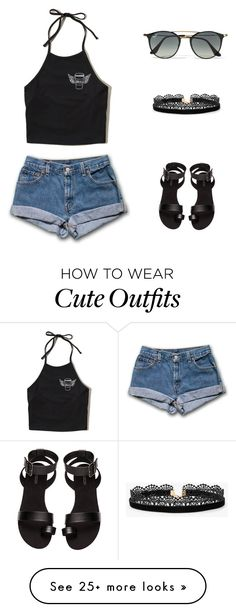 """""""Cute outfit"""" by snhollick on Polyvore featuring Hollister Co., H&M, Ray-Ban and Azalea"""