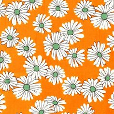 CLEARANCE SALE Daisies & Dots cotton fabric yardage by Laminates, $6.95