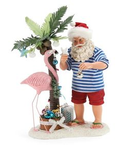 Blue & Red Flamingle Santa Figurine #zulily #zulilyfinds Santa Figurines, Christmas Figurines, Collectible Figurines, Christmas Ornaments, Tropical Christmas, Beach Christmas, All Things Christmas, Visit Santa, How To Make Toys