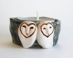 Barn Owls Candle Holder Black and White di HystericOwl su Etsy