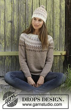 Talvik - Knitted jumper with round yoke in DROPS Alpaca. Piece is knitted top down with Nordic pattern. Size: S - XXXL Knitted hat with Nordic pattern and pompom in DROPS Alpaca. - Free pattern by DROPS Design Fair Isle Knitting Patterns, Fair Isle Pattern, Knitting Blogs, Knitting Designs, Knit Patterns, Free Knitting, Baby Knitting, Drops Design, Jersey Jacquard