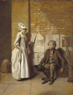 """18th Century New England Life. Clothing & Accoutrements: Aprons by Sue Felshin. Practical details on how to make one without a pattern. The painting is """"A Girl Buying a Ballad"""" or """"The Ballad Seller"""" by Henry Walton, c 1778."""