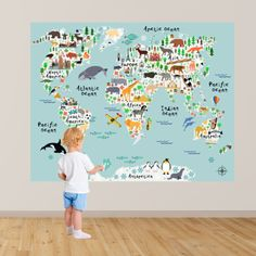 Kids World Map Wall Decal - take your child on a trip around the world from the comfort of their bedroom! Map Decal from Rocky Mountain Decals (www.rockymountaindecals.ca)