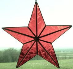 Stained Glass Barn Star Ornaments to hang on centerpieces (Made in purple iridescent glass)