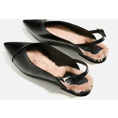 FAUX FUR BALLERINAS - NEW IN-TRF | ZARA United States (£38) ❤ liked on Polyvore featuring shoes, flats, ballerina shoes, skimmer shoes, ballet shoes, slingback shoes and ballerina pumps