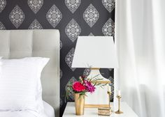 Bohemian Master Bedroom designed by Centered by Design with Silver Boteh wallpaper by Relativity Textiles.
