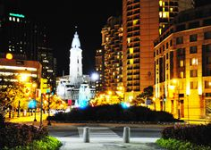 Downtown Philadelphia by night.