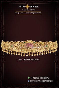 Heirloom-worthy bridal jewelry, Flaunt this unique piece of antique finish vaddanam or oddiyanam embellished with ruby emerald stones, uncut diamonds and hung with golden balls and south sea pearls. Wedding Belts, Indian Wedding Jewelry, Bridal Jewelry, Gold Earrings Designs, Gold Jewellery Design, Kids Jewelry, Cute Jewelry, Vaddanam Designs, Designer Bangles