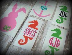 """4"""" DIY Decals, Monogrammed Seahorse, DIY Flip Flops, Monogrammed Decals, Monogram Stickers, Stickers for Windows on Etsy, $4.50"""