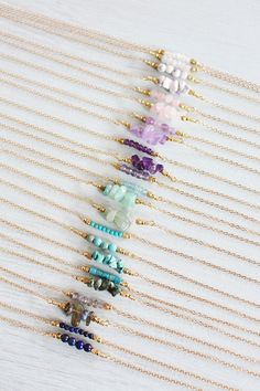Gemstone Bar Necklace Gemstone Necklace by MoonTideJewellery