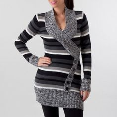 Surplice Rib Collar Tunic with Buttons