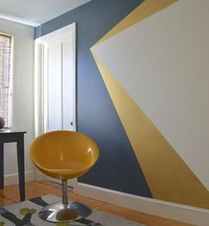 Get decorative wall Painting ideas and creative design tips to colour your interior home walls with Berger Paints. check out Inspirational wall design tip for interior walls. Geometric Wall Paint, Geometric Painting, Modern Wall Paint, Diy Wall Painting, Painting Patterns On Walls, Home Painting Ideas, Painting Tips, Painting A Bedroom, Painting Accent Walls