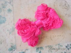 """PETITE HOT PINK hair clip bow for baby to adult measures 2.5"""" across. $6.00, via Etsy."""