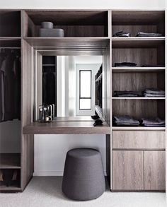 Walk in Robe with Dressing Table, dark Oak cabinetry and integrated LED strip lighting - caro deco W Wardrobe Dresser, Wardrobe Room, Wardrobe Design Bedroom, Small Apartment Design, Small Apartments, Wardrobe With Dressing Table, Small Dressing Table, Dressing Tables, Dressing Room Design