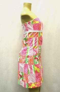 LILLY PULITZER Bowen Pink Multi Strapless Empire Dress Sz 6  #LillyPulitzer #EmpireWaist #SummerBeach