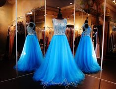 Blue ball gown-high illusion beaded bodice-keyhole back-full tulle skirt-115BP0X2000525