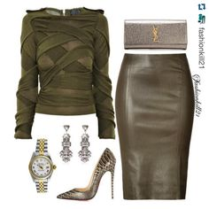 Who's ready for fall?!?  I'll take it!  #Repost @fashionkill21  ・・・ Olive Branch DETAILS: Top #Burberry Purse #Saintlaurent Skirt #Jitrois Shoes #Christianloboutins Earrings #Riverisland Watch #Rolex #Styledbyfashionkill21