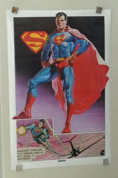 """Rare vintage original 1977 DC Comics 35"""" by 23"""" Superman Thought Factory DC Universe comic book superhero poster 1: 1970's Man of Steel/JLA. 1000's more rare vintage original Marvel & DC Comics posters and Official colorist's color guide art pages (used in the production of the actual Marvel & DC comic books), at SUPERVATOR.COM and at SUPERVATORCOMICPOSTERSANDART.COM"""