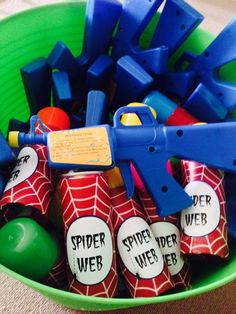 Cool favors at a  Superhero Party!  See more party ideas at CatchMyParty.com!  #partyideas #superhero