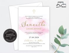Modern Christening Baptism Invitation Template, Baptism Invitation, Christening Invitation, Watercolour, Editable, Baby Girl, Samantha Christening Invitations, Photo Center, Premium Fonts, Textured Background, Watercolour, Stationery, Happy Birthday, Place Card Holders, Templates