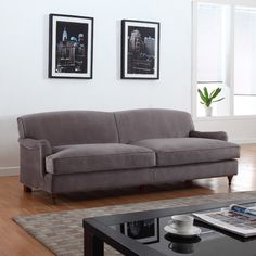 Madison Home USA Mid-Century Modern Large Sofa with Casters Upholstery Color: Gray