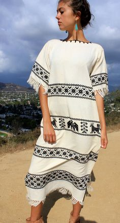 Mayan Beauty Vintage Mexican Maxi Dress Handwoven Cotton by Vdingy