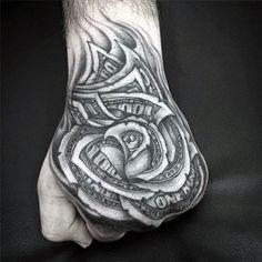 Black And White Mens Money Rose Ink Tattoo Design
