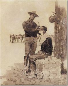 ART - Frederic Remington - Cavalryman Shaving A Comrade Painting American Realism, American War, American Artists, Native American, Frederic Remington, American Impressionism, Hudson River School, Cowboy Art, Le Far West