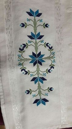 Folk Embroidery This Pin was discovered by Nur Cross Stitch Cushion, Cross Stitch Rose, Cross Stitch Borders, Cross Stitch Flowers, Cross Stitch Charts, Cross Stitch Designs, Cross Stitch Patterns, Towel Embroidery, Folk Embroidery