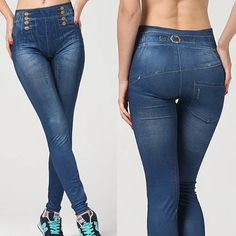 Fashion-Women-Slim-Tight-Denim-High-Waist-Jeans-Jeggings-Leggings-Faux-Pants-OS