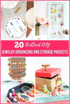 20 DIY Jewelry Organizing & Storage Projects - Tired of having a tangled mess of necklaces and earrings? Check out these fun ideas for organizing your jewelry.
