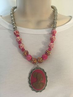 Pink Vintage Cameo Necklace/Free Shipping