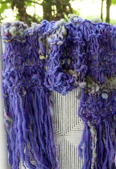 Super Bulky Hand Knit Scarf  in purple with raw locks by bpenatzer, $108.00