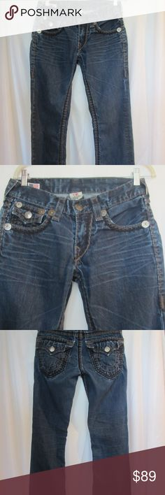 """True Religion Sz 29 Thick Double Stitch Jeans Mens Mens Size 29 True Religion Jeans.   Dark rinse with whiskered design.  Double row thick stitching.  One tan, one black.  Paid almost $300 for these at True Religion in Jacksonville FL.    Only worn a few times.   No rips or holes.   34"""" inseam. True Religion Jeans Straight"""