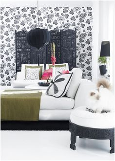 beautiful bedroom (and i want that kitty too - so cute!)