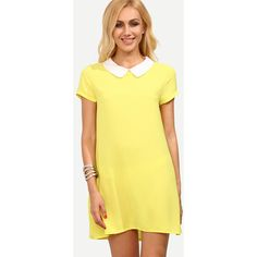 Yellow Peter Pan Collar Short Sleeve Shift Dress (24 PAB) ❤ liked on Polyvore featuring dresses, short dresses, short yellow dress, short-sleeve shift dresses, short sleeve shift dress and beige dress