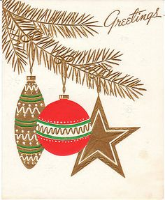 Vintage Christmas Card Mid Century Ornaments on Gold Tree 1950s to 1960s USA