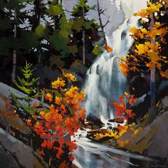 43 Ideas For Landscape Nature Painting Concept Art Watercolor Artwork, Watercolor Landscape, Landscape Art, Landscape Paintings, Landscapes, Watercolour, Canadian Painters, Canadian Art, Waterfall Paintings