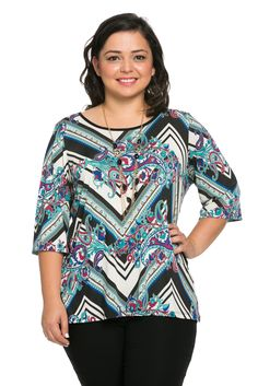 Three Quarters Sleeve Chevron-Abstract Print Top with Necklace (6370)