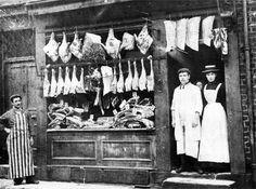 Boucherie  Charcuterie Vintage Photographs, Vintage Images, Vintage Posters, Old Pictures, Old Photos, Old Paris, Good Old Times, Butcher Shop, History Photos