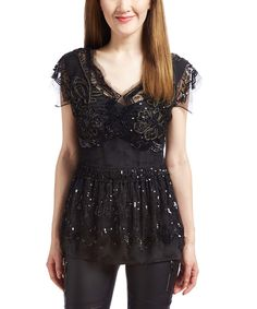 Look at this Renzo and Kai Black Beaded Flutter-Sleeve Top on #zulily today!