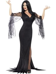 morticia addams costume inspiration   For ladies after something a little more glamorous this Halloween, the Smiffys Immortal Soul Costume is perfect for you! The side split dress is complete with draping sleeves, just add your favourite heels and a wig of choice to complete the look.