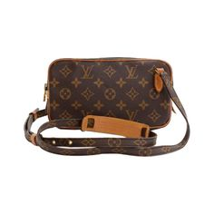 Pre-Owned Vintage Louis Vuitton Pochette Marly Bandouliere Monogram... ($299) ❤ liked on Polyvore featuring bags, handbags, shoulder bags, brown, monogrammed purses, brown crossbody, canvas handbags, louis vuitton handbags and brown crossbody purse